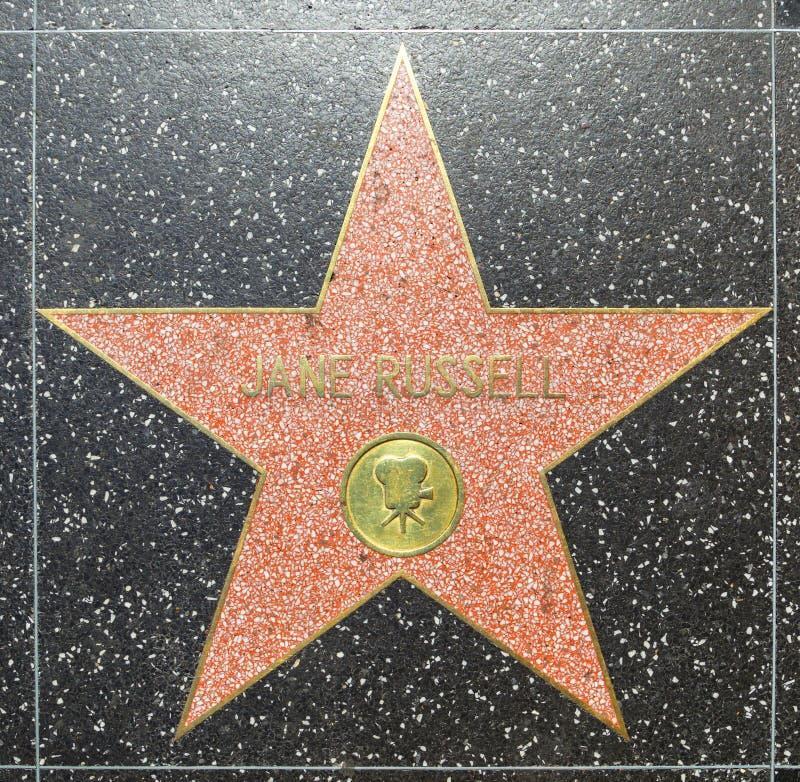 Jane Russells-ster op Hollywood-Gang van Bekendheid royalty-vrije stock fotografie