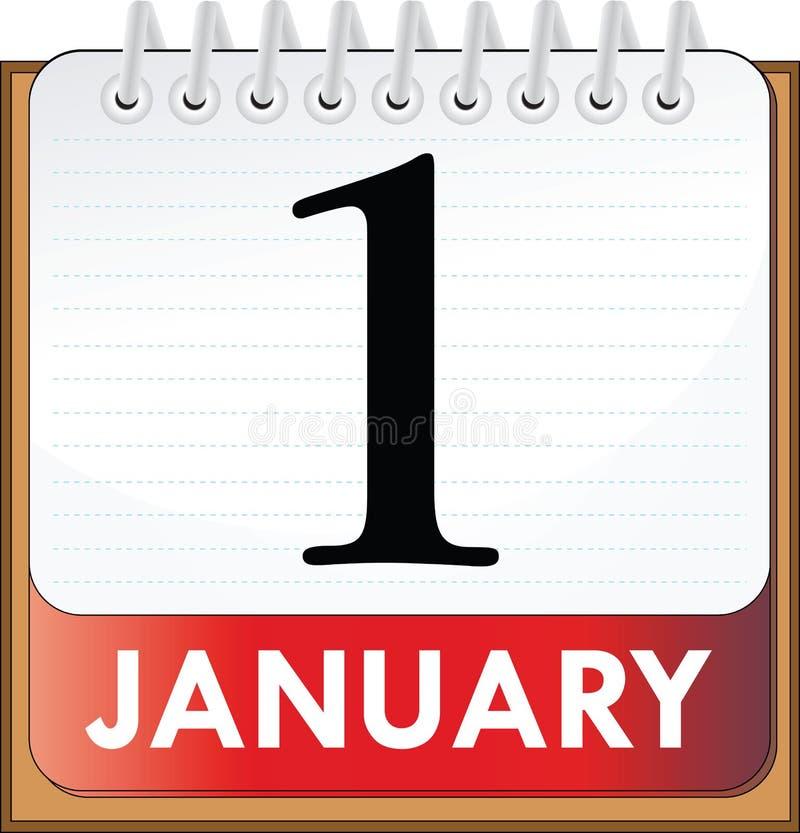 Janeiro 1 ilustração stock