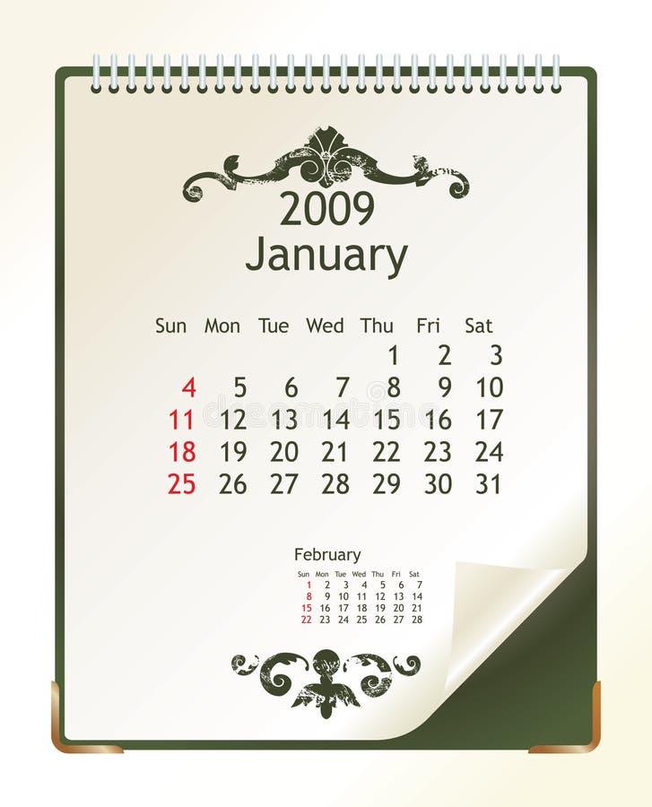 Janeiro 2009 ilustração do vetor