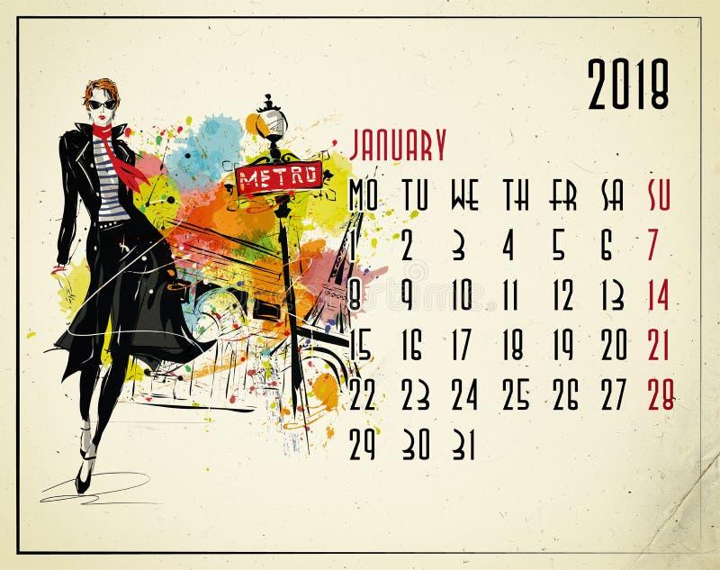 janeiro Calendário de 2018 europeus com menina da forma ilustração stock