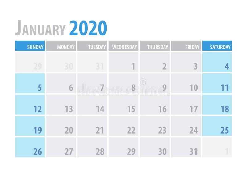 janeiro Planejador 2020 do calendário no estilo simples da tabela mínima limpa Ilustração do vetor ilustração royalty free