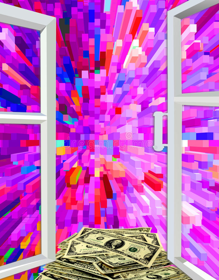 Janela à abstração e aos dólares coloridos ilustração do vetor
