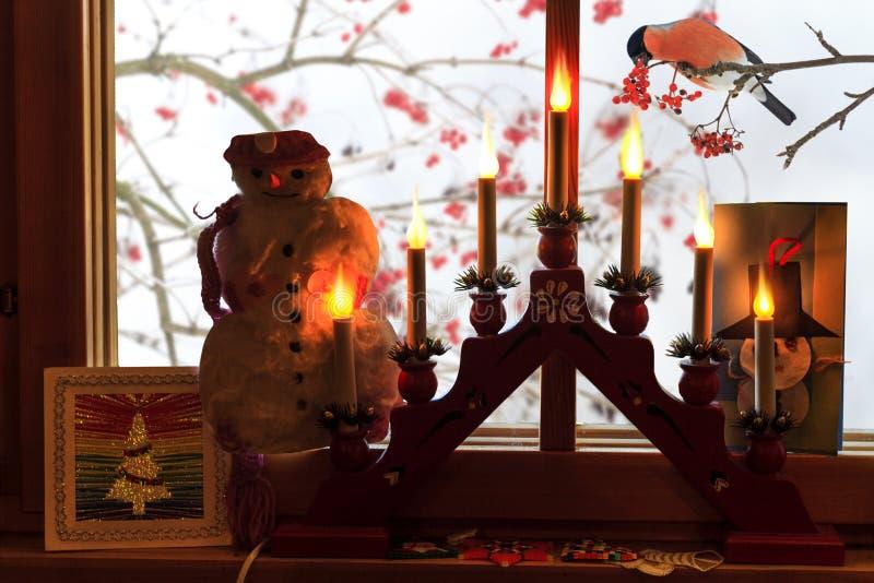 A janela é decorada ao Natal e ao pássaro atrás do vidro fotografia de stock