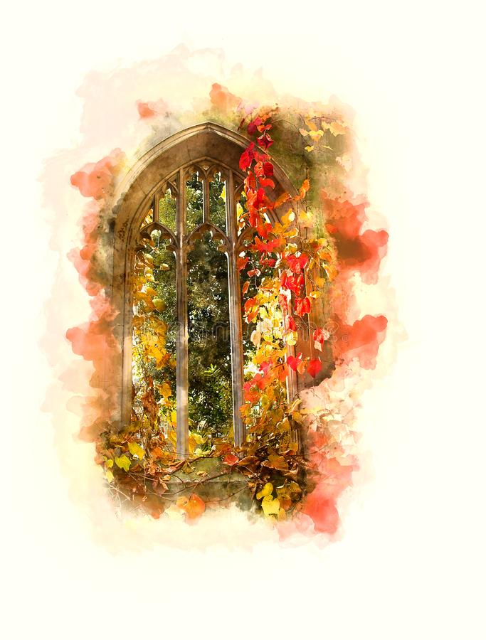 Janela abandonada aquarela Londres da igreja fotografia de stock