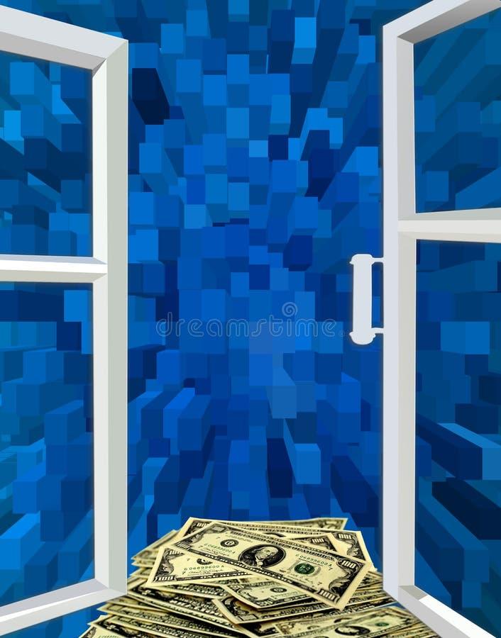 Janela aberta à abstração e aos dólares azuis ilustração stock