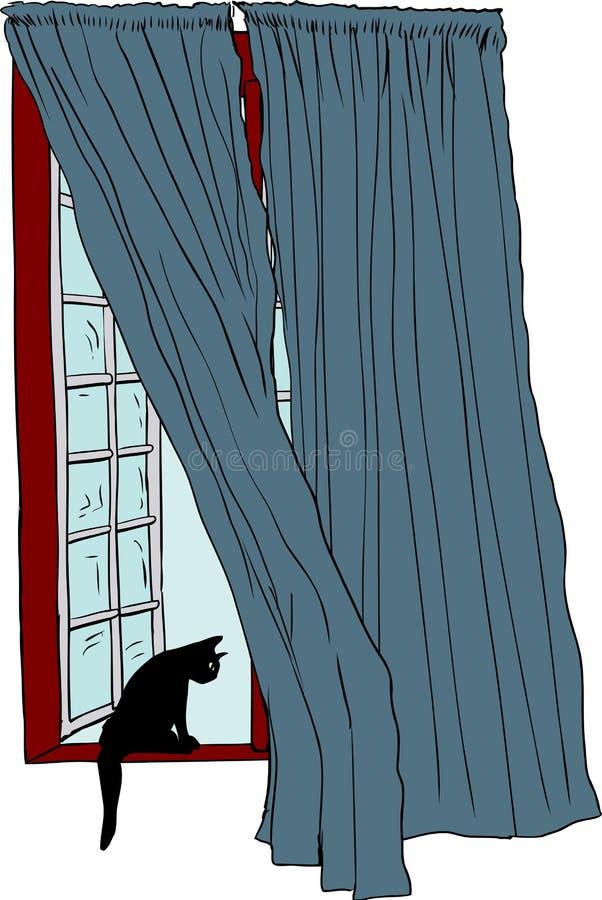 Janela aberta com o gato preto na borda ilustração stock