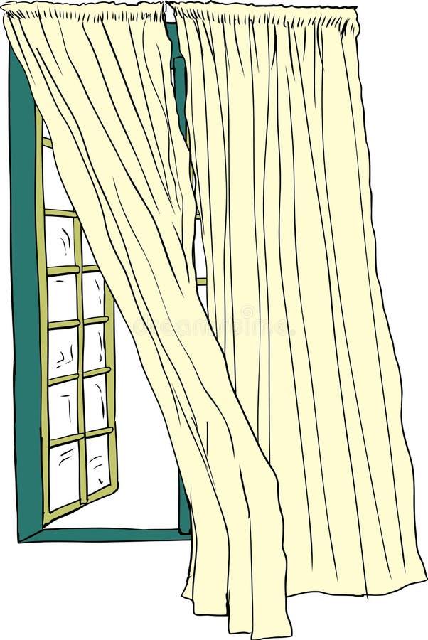 Janela aberta e cortinas de sopro ilustração stock