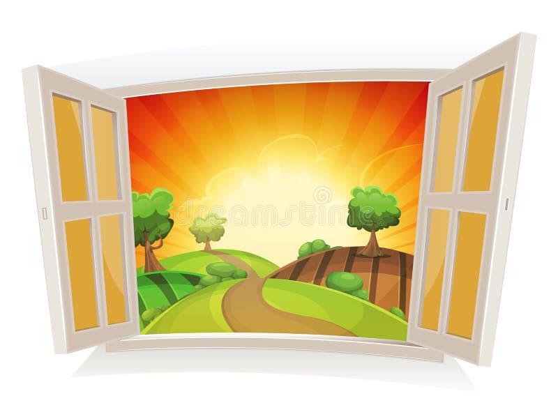 Janela aberta em uma paisagem rural do verão ilustração do vetor