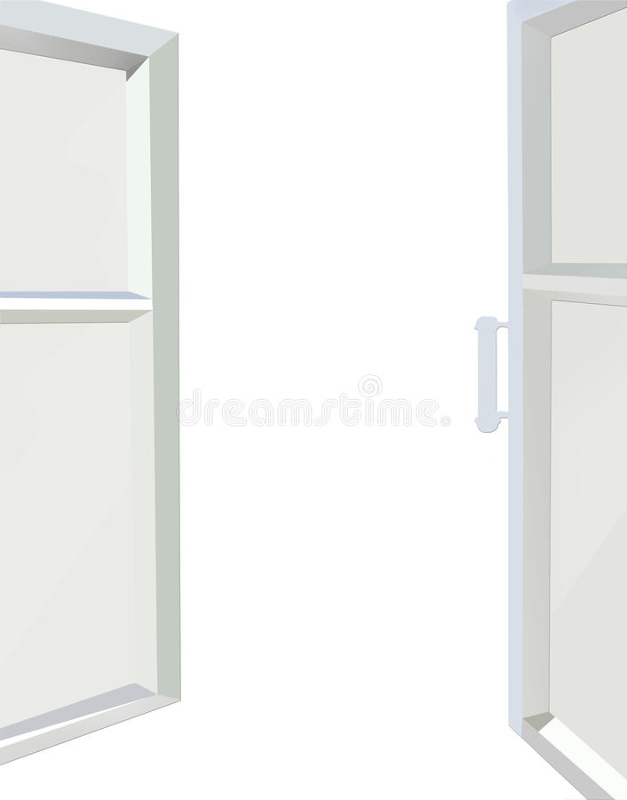 Janela aberta isolada no fundo branco ilustração do vetor