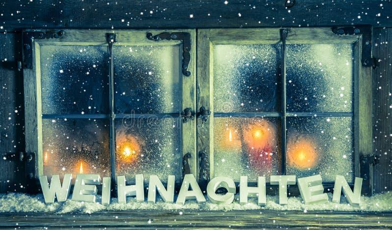 Janela atmosférica do xmas para um fundo com texto alemão: Chris imagem de stock