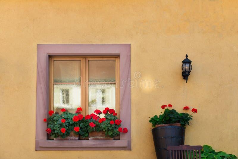 Janela bonita na casa francesa tradicional em Colmar, Alsácia foto de stock royalty free