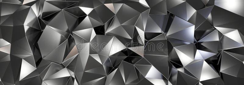Janela branca na ILUSTRA??O azul de wall3d, do fundo de cristal do preto do sum?rio, textura triangular, largamente panor?mico pa ilustração do vetor