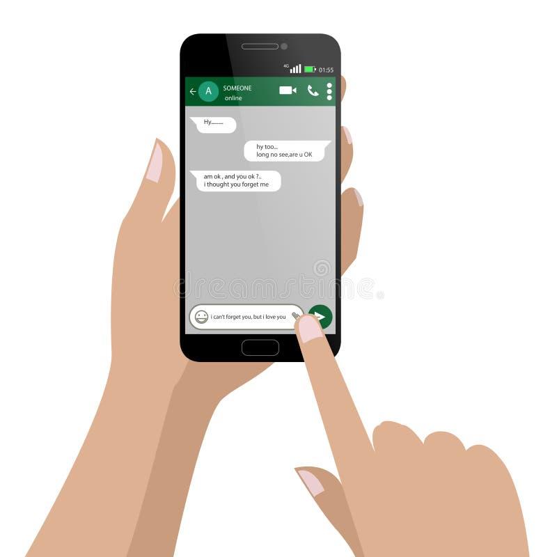 Janela Chating do mensageiro e smartphone social da rede da mensagem ilustração stock