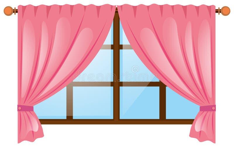 Janela com cortina cor-de-rosa ilustração stock