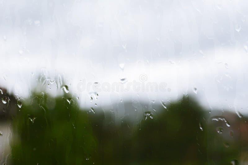 Janela com gotas da chuva com wiev em uma floresta foto de stock