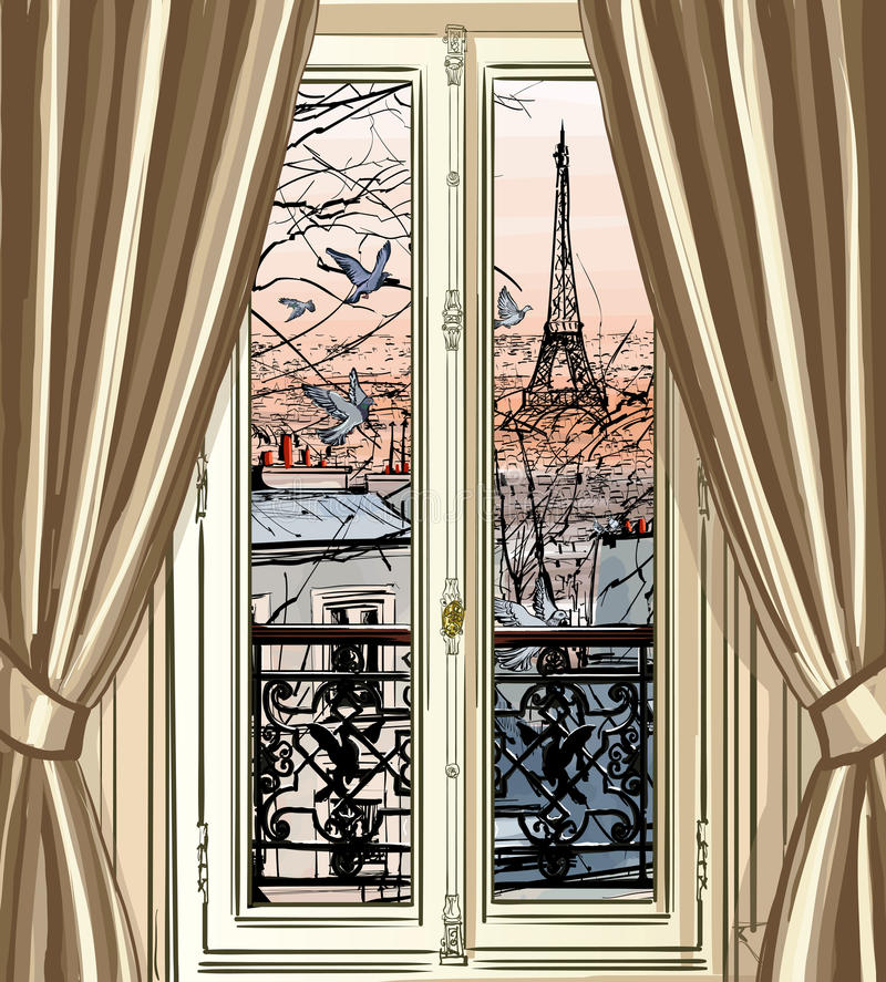 Janela com opinião da torre Eiffel e dos telhados ilustração do vetor