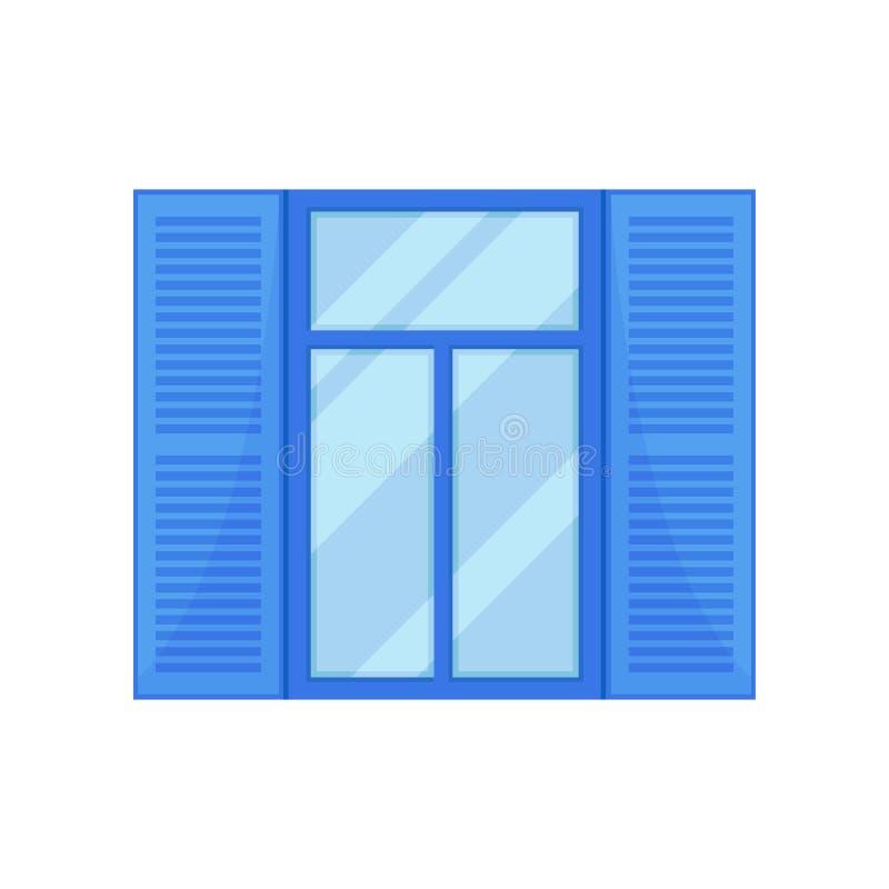 Janela com os obturadores azuis no fundo branco ilustração royalty free