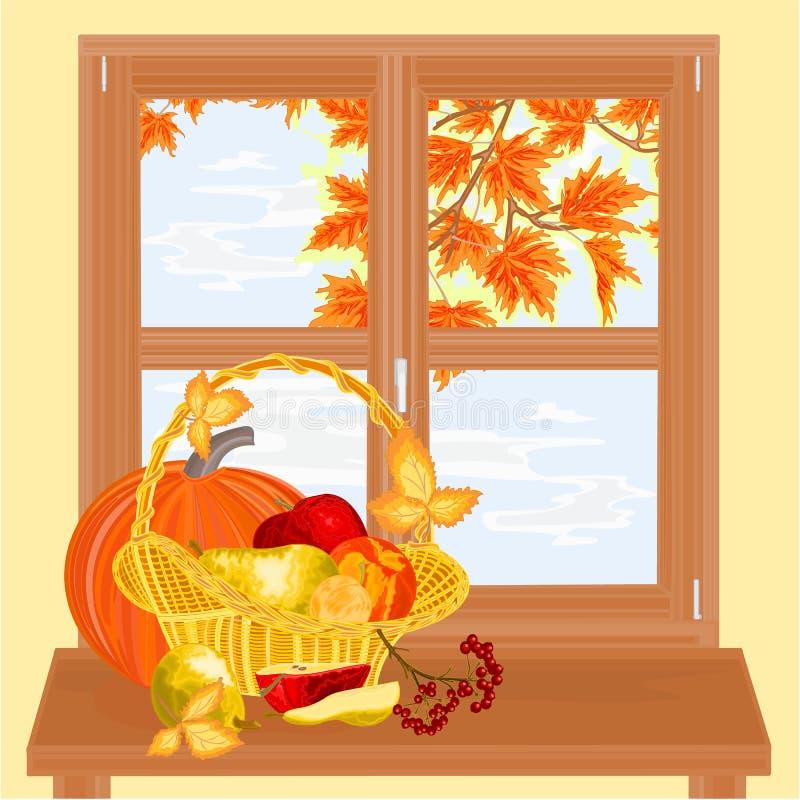 Janela com vetor do dia da ação de graças do tema do outono dos frutos ilustração do vetor