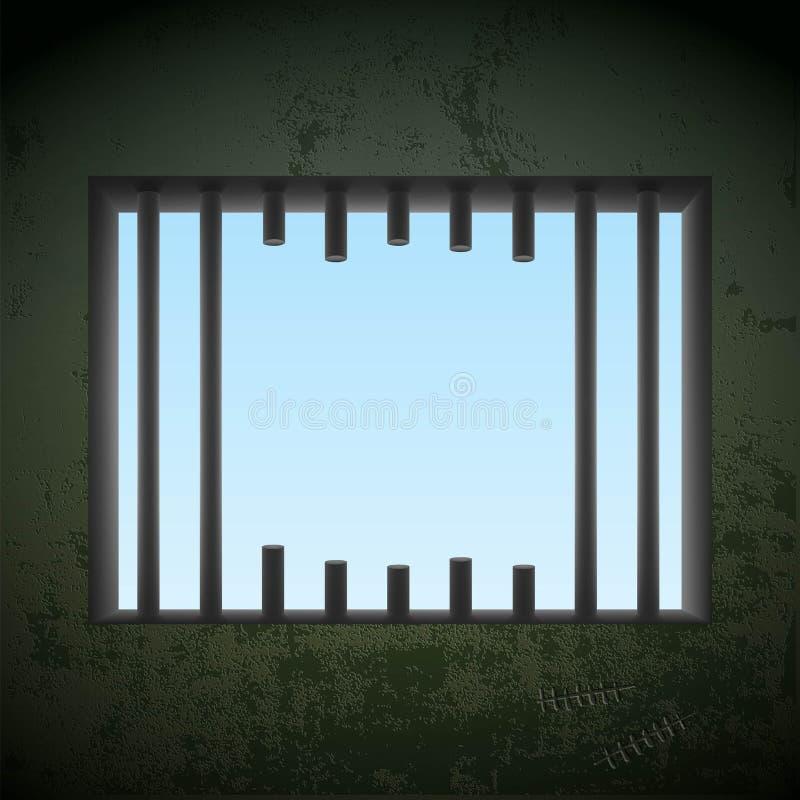 Janela com visto fora das barras em uma cela Ruptura da cadeia estoque VE ilustração royalty free