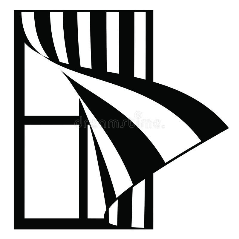 Janela da ilustração com cortinas listradas ilustração royalty free