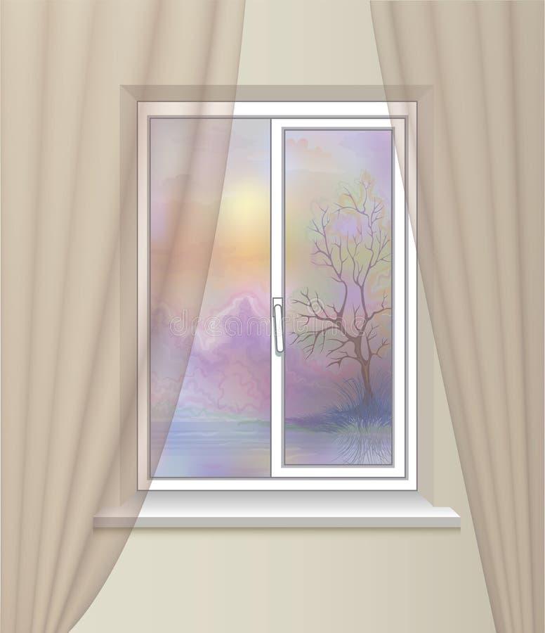 Janela da vista bonita Paisagem da natureza interior do conforto do cosiness ilustração stock