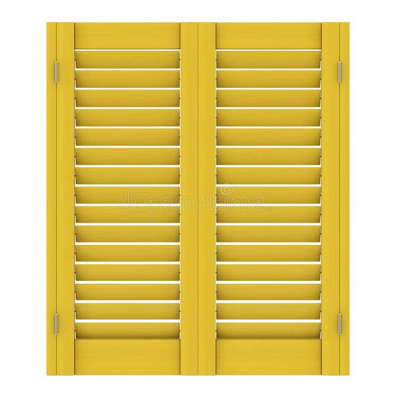 Janela de madeira amarela retro com Jalousie de Sutters rendição 3d imagem de stock royalty free