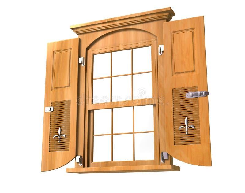 Janela de madeira com portas - baixo ângulo imagem de stock