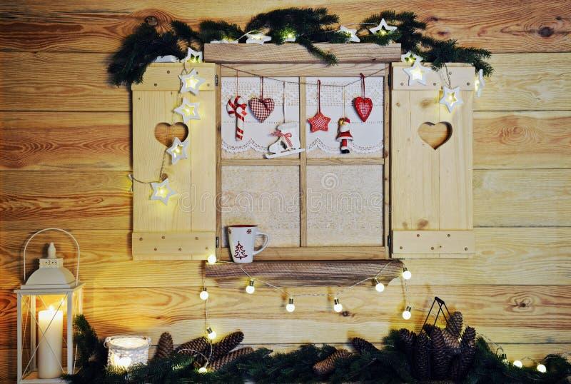janela de madeira do Natal fotografia de stock