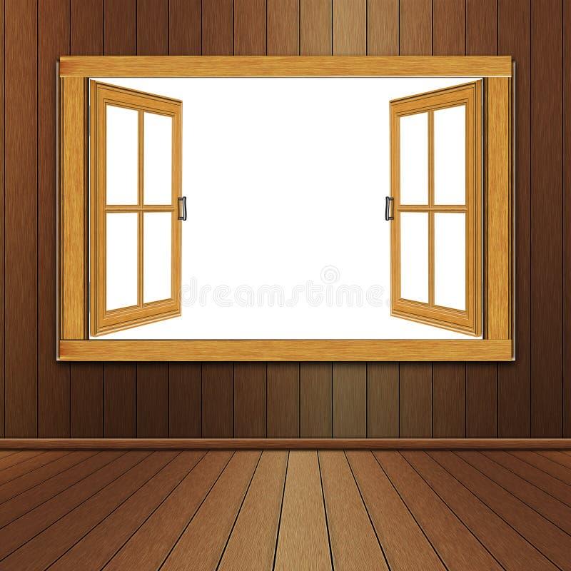Janela de madeira na sala ilustração royalty free