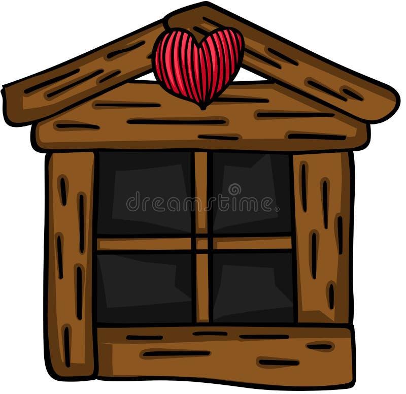 Janela de madeira pequena ilustração do vetor