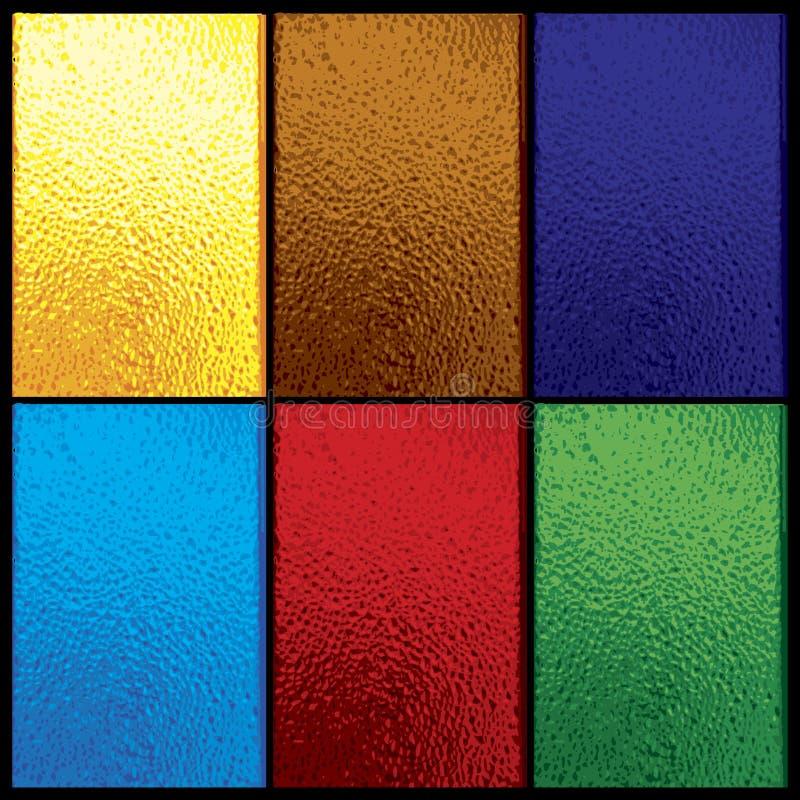 Janela de vitral colorida ajustada no preto ilustração do vetor
