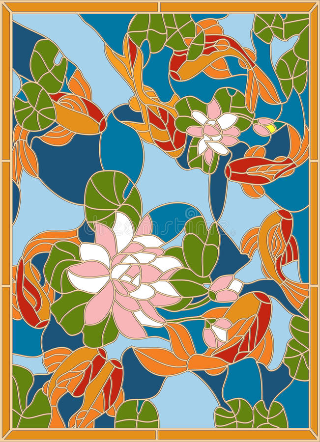 Janela de vitral com os peixes no fundo das flores ilustração do vetor