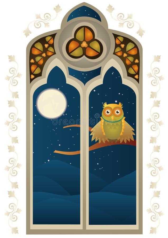 Janela de vitral com uma coruja ilustração do vetor