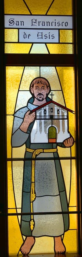 Janela de vitral de San Francisco De Asis (St Francis de Assisi) imagem de stock royalty free