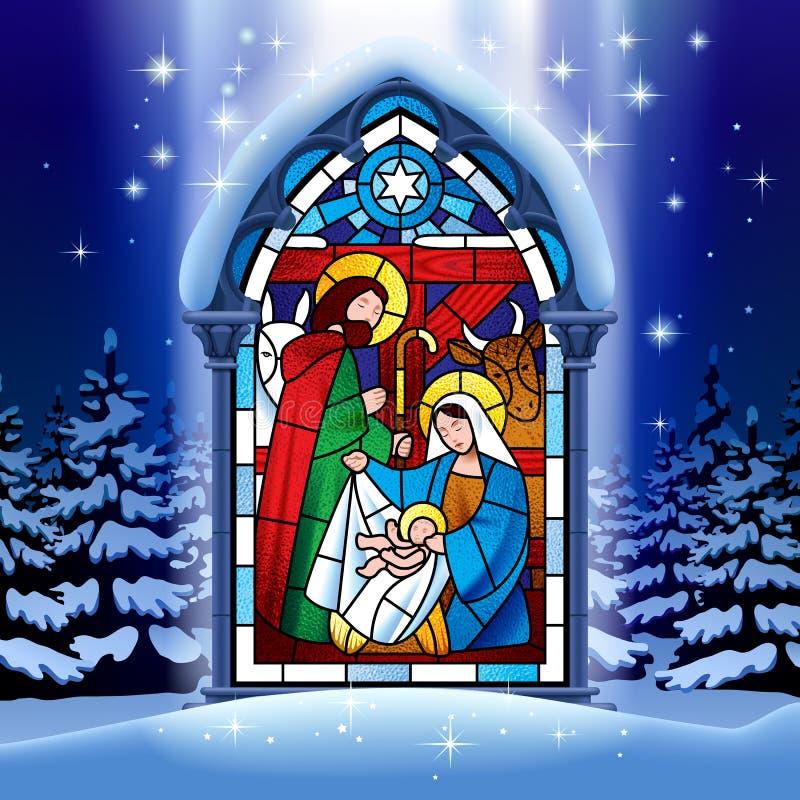 Janela de vitral do Natal na floresta do inverno ilustração stock