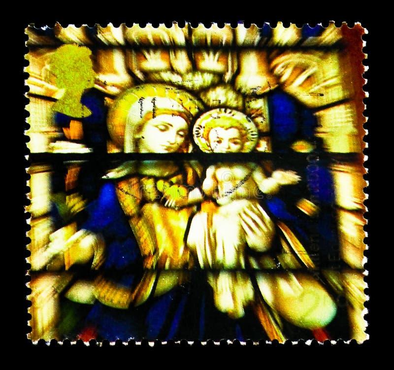 Janela de vitral do Virgin e da criança, Saint Edmundsbury Cathedr fotos de stock