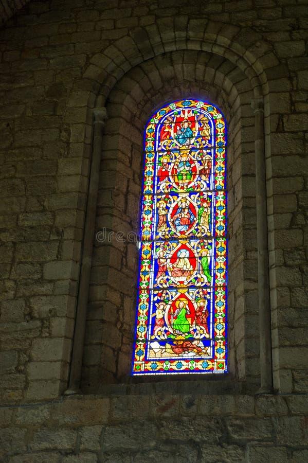 Janela de vitral em Rocamadour fotografia de stock