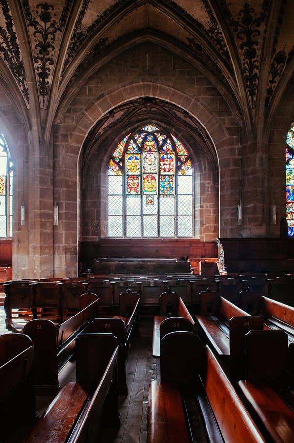 Janela de vitral extraordinária da igreja evangélica, Munste imagem de stock royalty free