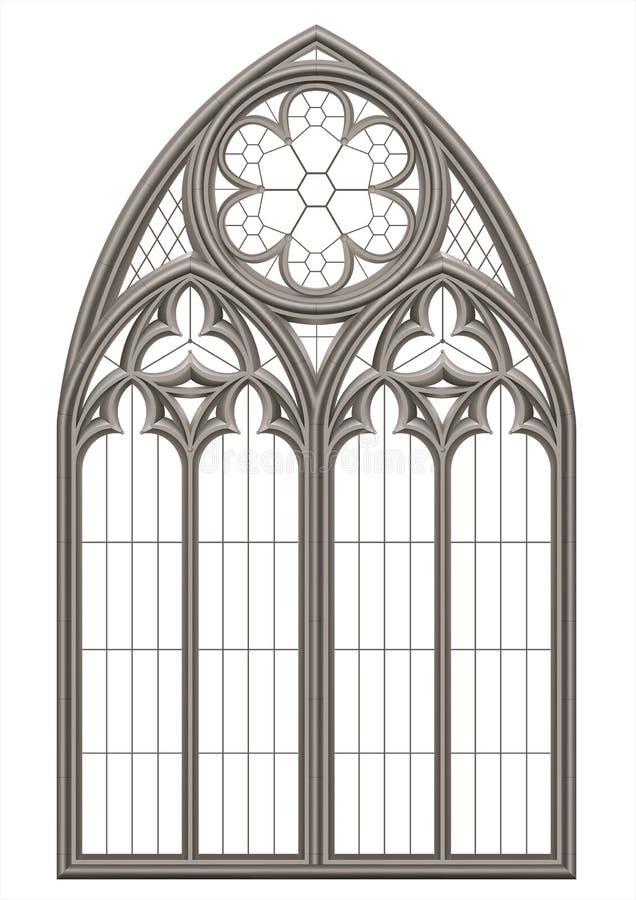 Janela de vitral gótico medieval ilustração royalty free