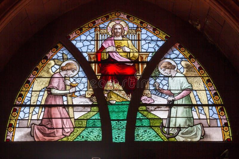 Janela de vitral que descreve Cristo foto de stock
