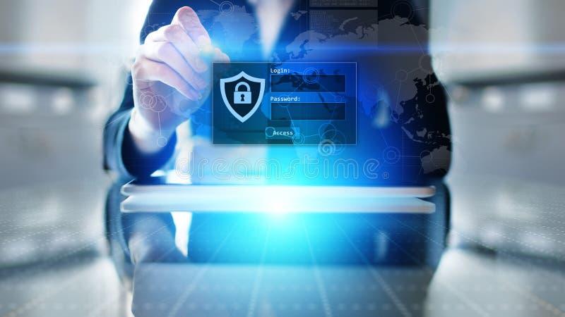 Janela do acesso com início de uma sessão e senha na tela virtual Segurança do Cyber e conceito pessoal da proteção de dados foto de stock