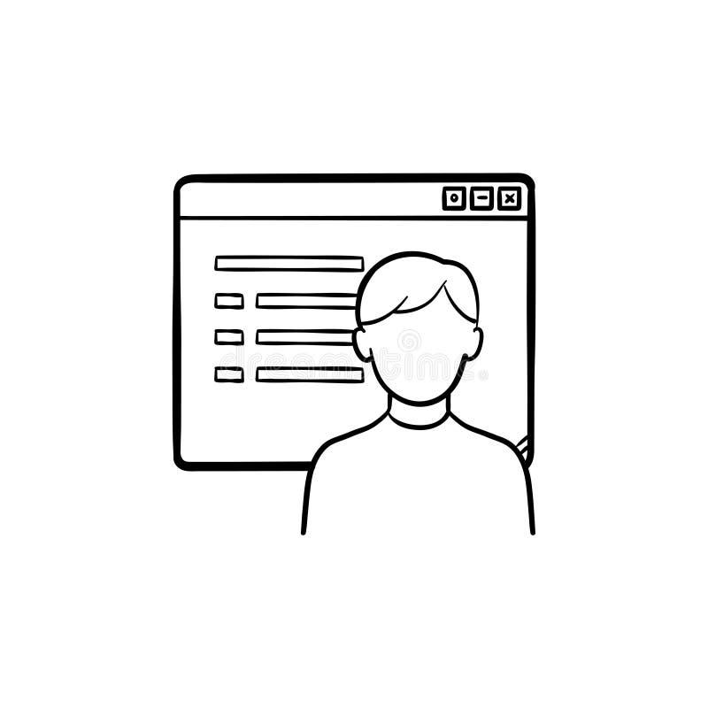 Janela do browser com ícone tirado da garatuja do esboço do Web page da rede mão social ilustração royalty free