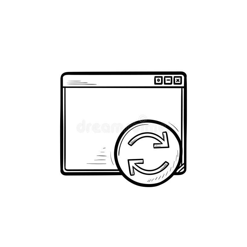 Janela do browser com ícone tirado mão da garatuja do esboço do botão do reinício ilustração stock