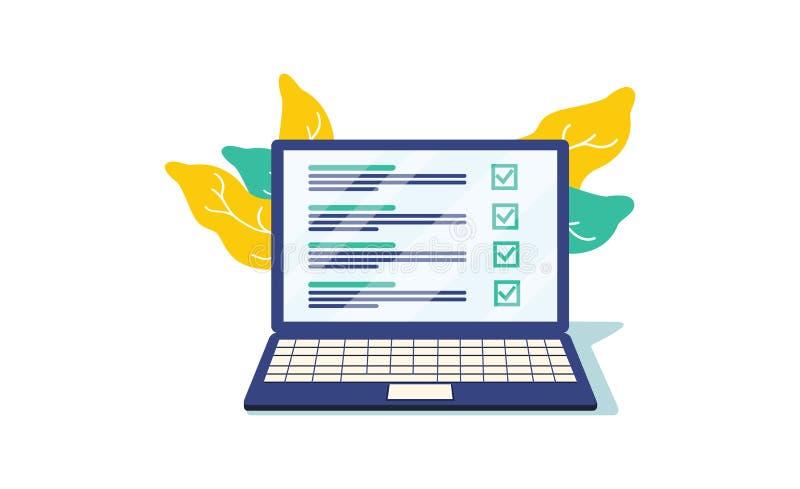 Janela do browser da lista de verificação Marca de verificação Tiquetaque branco na tela do portátil Escolha, conceitos da avalia ilustração stock