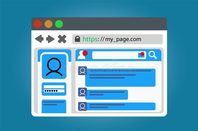 Janela do browser do Internet com um página da web social aberto da rede Isolado no fundo branco ilustração royalty free