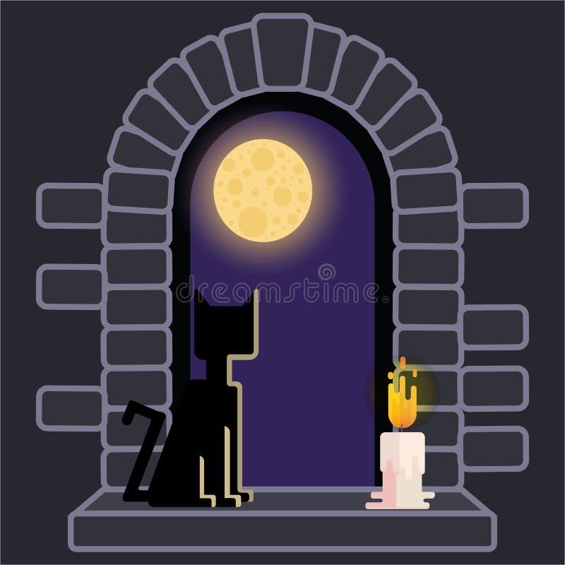 Janela do castelo com gato preto e vela ilustração do vetor