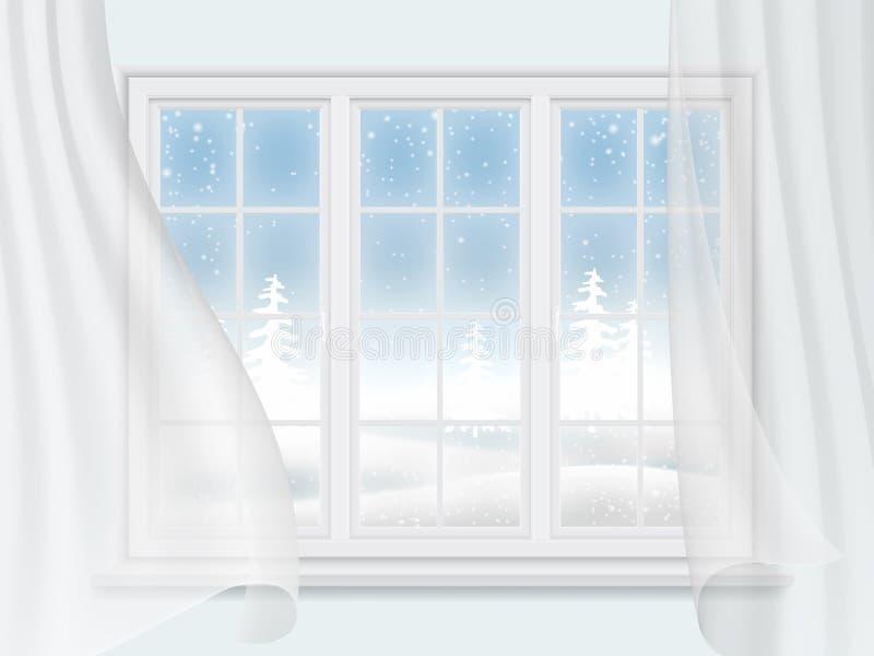 Janela do inverno com cortinas ilustração stock