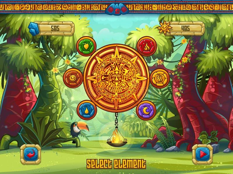 A janela do jogo da ilustração seleciona os elementos a um jogo de computador ilustração do vetor