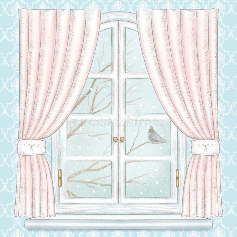 Janela do lápis da aquarela e de ligação com cortinas cor-de-rosa e paisagem do inverno no papel de parede azul ilustração do vetor