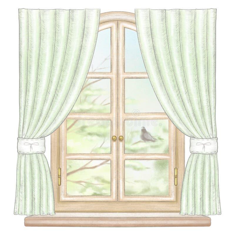 Janela do lápis da aquarela e de ligação com cortinas verdes e paisagem da mola ilustração royalty free